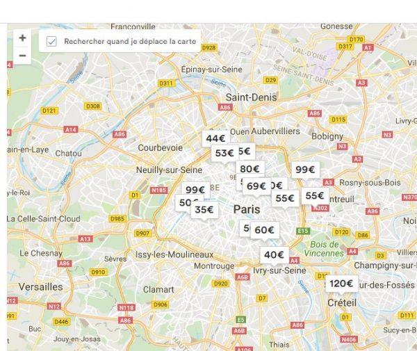 Airbnb - Carte localisation des biens (capture d'écran)