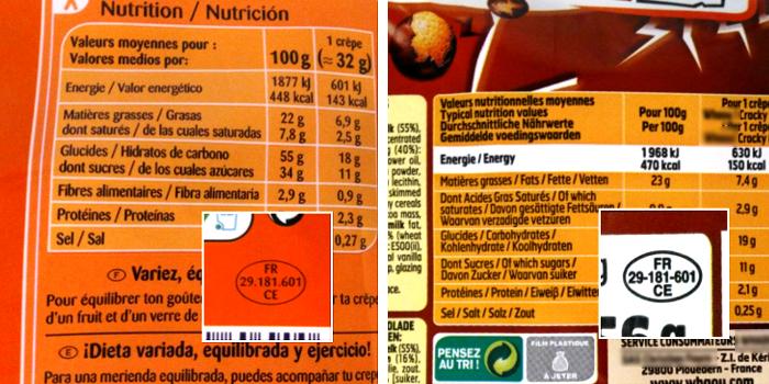 Codes et valeurs nutritionnelles identiques - Marques : distributeur et nationale