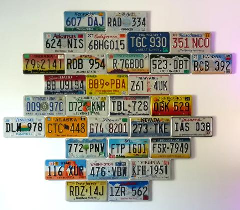 Le résultat : Une belle déco originale avec des plaques d'immatriculation US